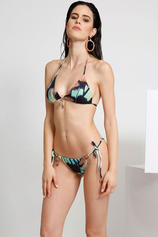 PRINTED TRIANGLE BIKINI WITH FEATHERS AND COSTUME JEWELLERY