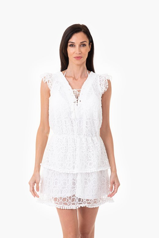 MACRAME' LACE SHORT DRESS