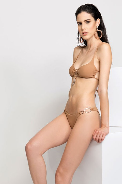 SOLID COLOUR BRALETTE BIKINI WITH FEATHERS AND COSTUME JEWELLERY