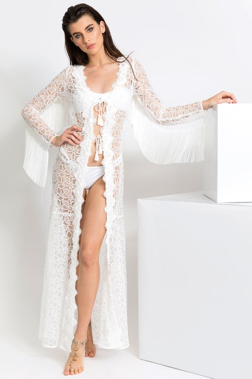 MACRAME' LACE LONG ROBE WITH TRIMMING