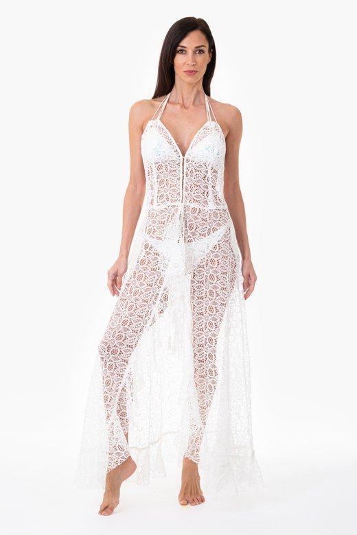 Long macramé lace dress