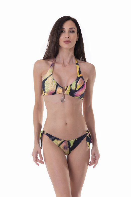 HALTER TRIANGLE BIKINI WITH APPLICATION FEATHERS AND CUSTOM JEWELLERY