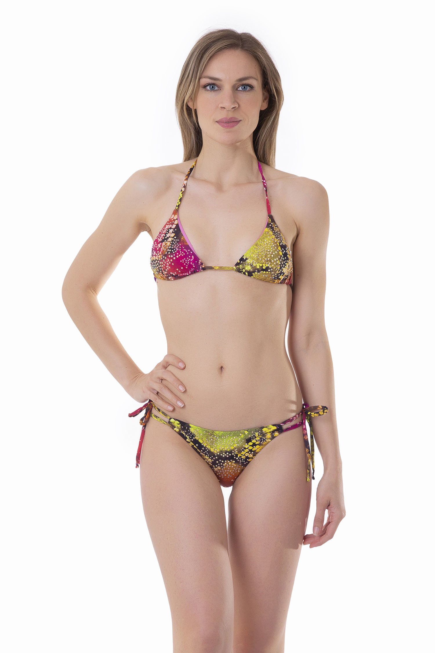 TRIANGLE TOP BIKINI WITH RHINESTONES AND BRAZILIAN BOTTOM WITH TIES - Pitone Fuxia