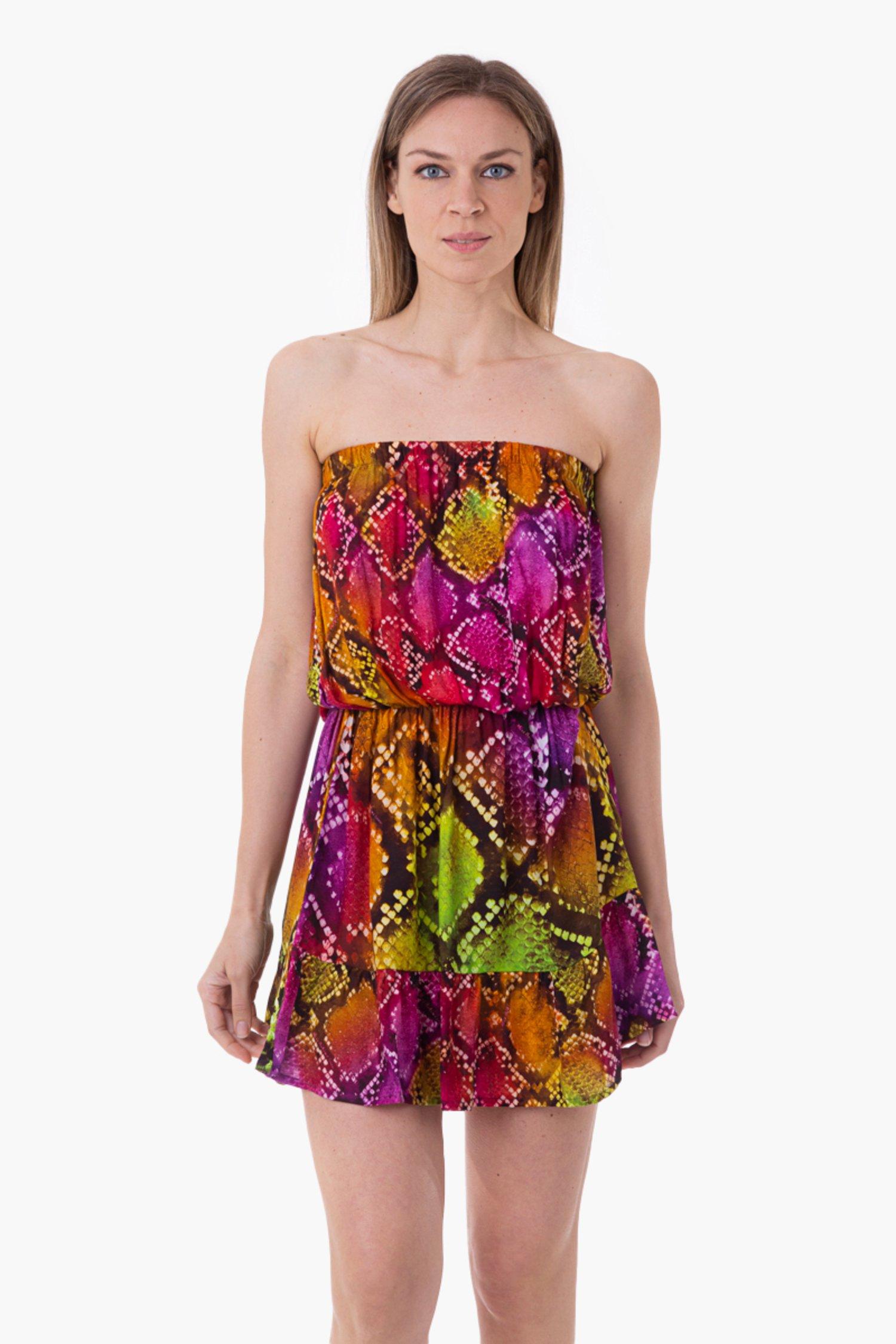 VISCOSE PRINTED SHORT DRESS - Pitone Fuxia