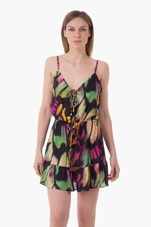 VISCOSE PRINTED SHORT DRESS