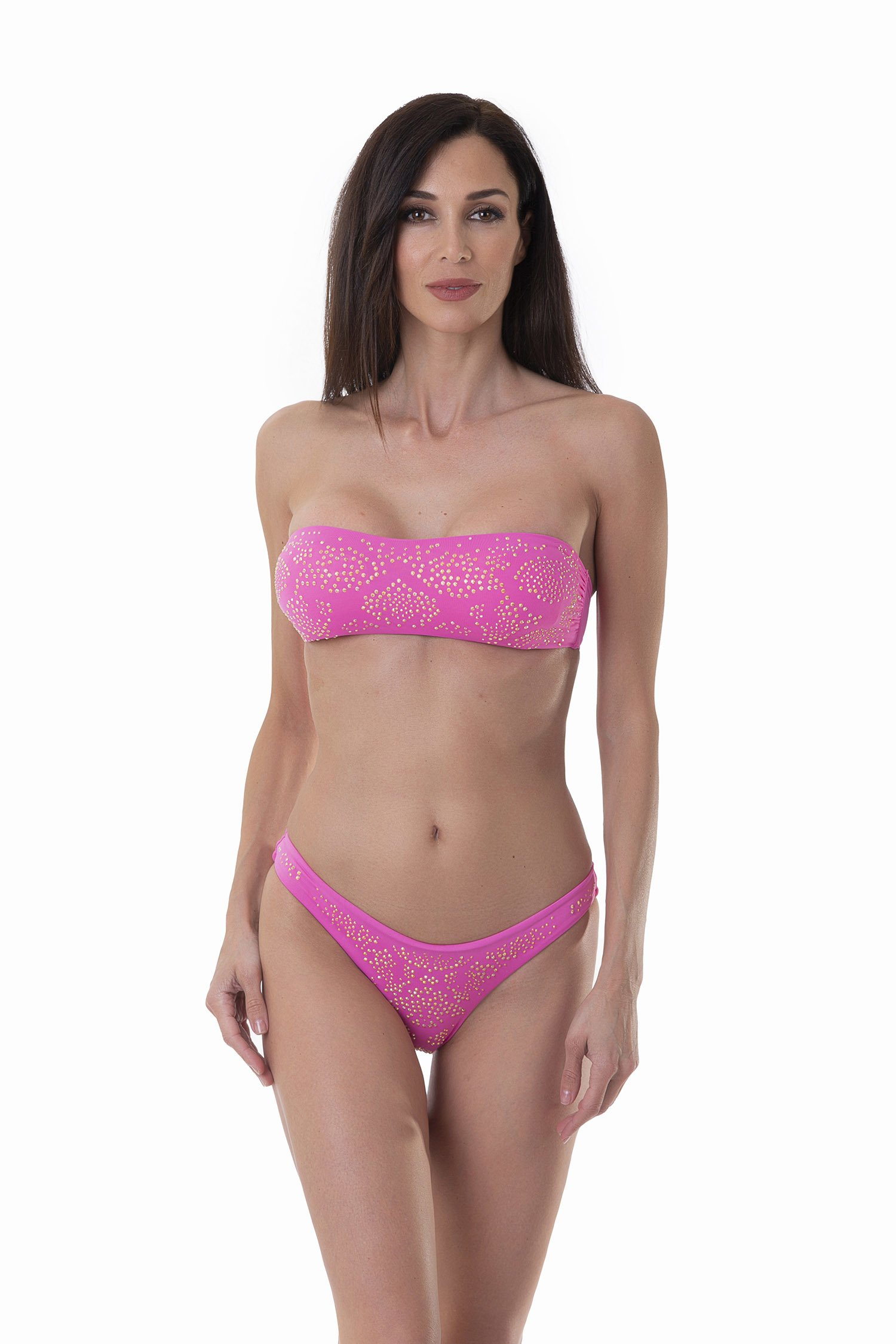 BANDEAU BIKINI SOLID COLOR WITH RHINESTONES AND BRAZILIAN BOTTOM