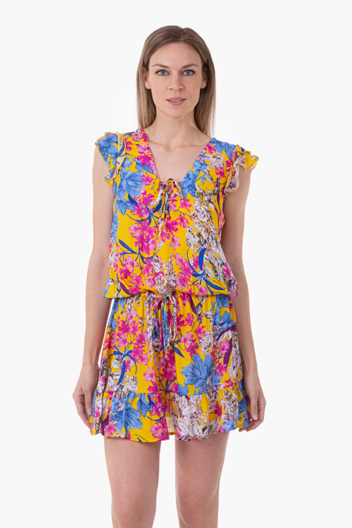 VISCOSE PRINTED SHORT DRESS WITH RUCHES - Fiori Giallo