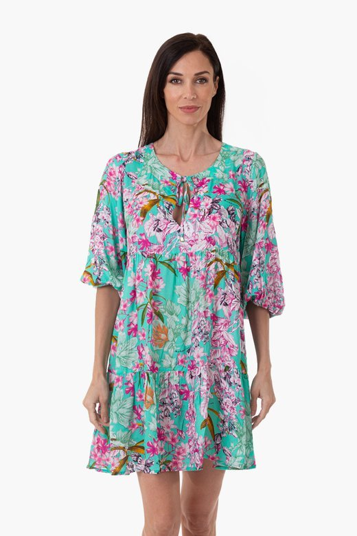 PRINTED VISCOSE CAFTAN WITH THREE QUARTER SLEEVES