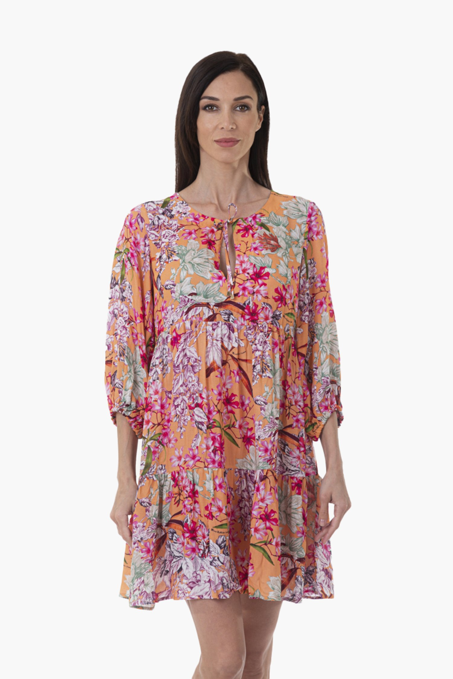 PRINTED VISCOSE CAFTAN WITH THREE QUARTER SLEEVES - Fiori Pesco