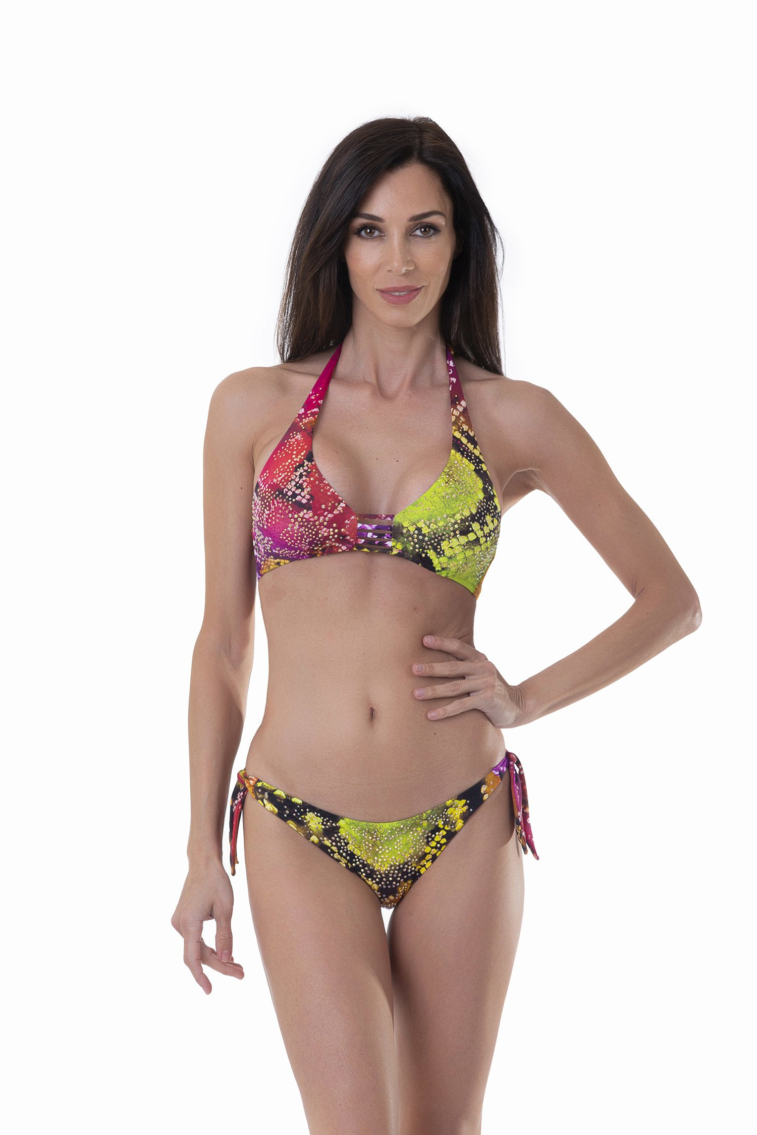 HALTER TRIANGLE SWIMSUIT - Pitone Fuxia