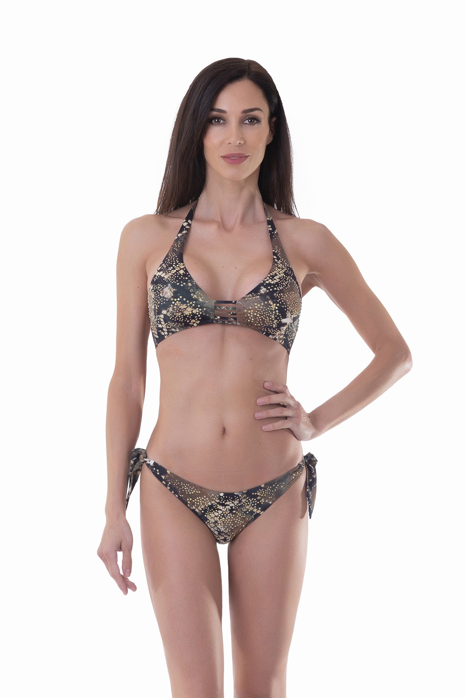 HALTER TRIANGLE SWIMSUIT - Pitone Marrone