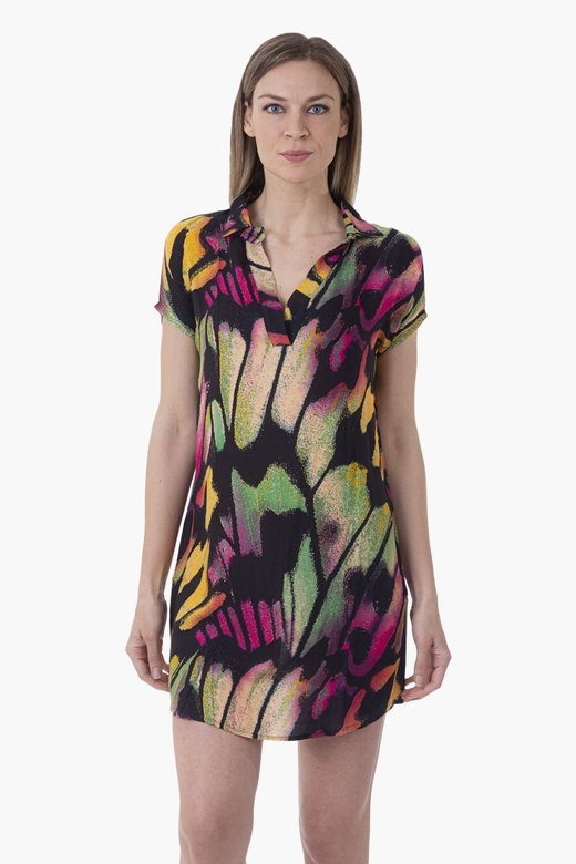 PRINTED VISCOSE CAFTAN SHIRT