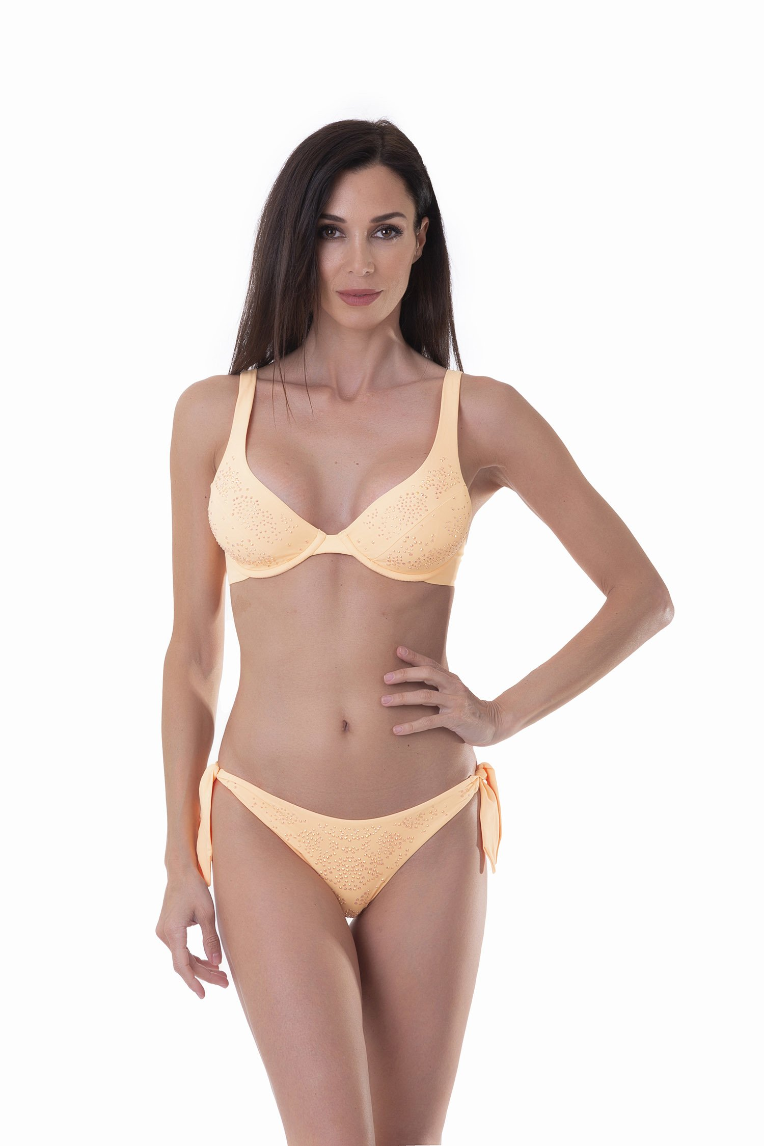 HALTER TRIANGLE BIKINI SOLID COLOUR WITH RHINESTONES - Pesco Peperino
