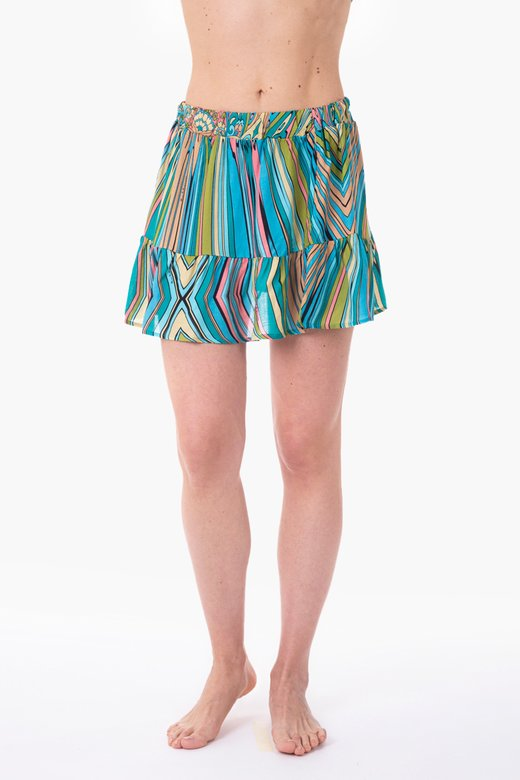 VISCOSE PRINTED SHORT SKIRT