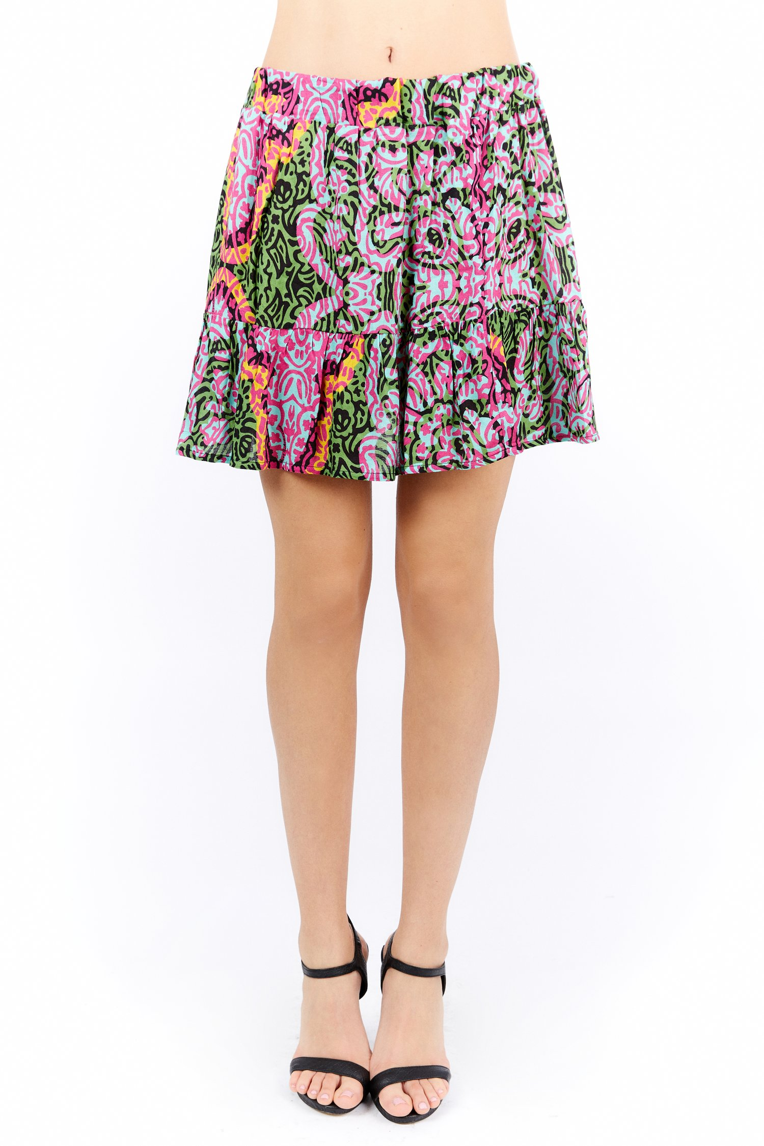 VISCOSE PRINTED SHORT SKIRT - India Pop Fuxia