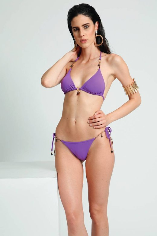 SOLID COLOUR TRIANGLE BIKINI WITH FEATHER COSTUME JEWELLERY
