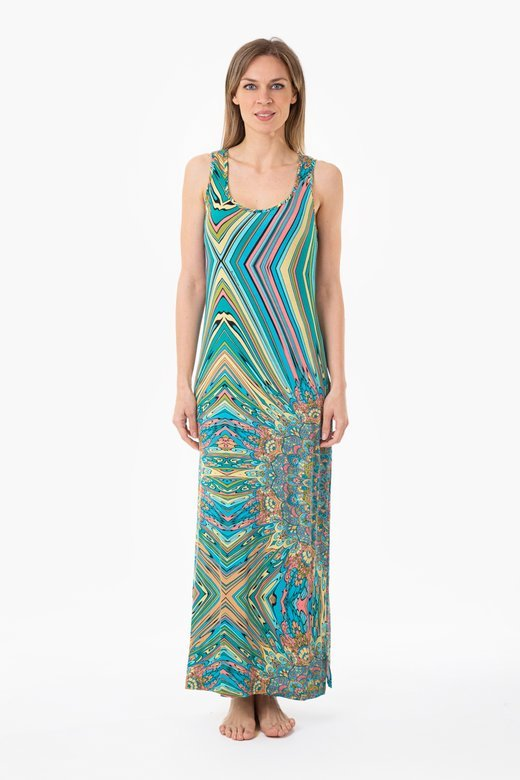 PRINTED JERSEY TANK TOP LONG DRESS