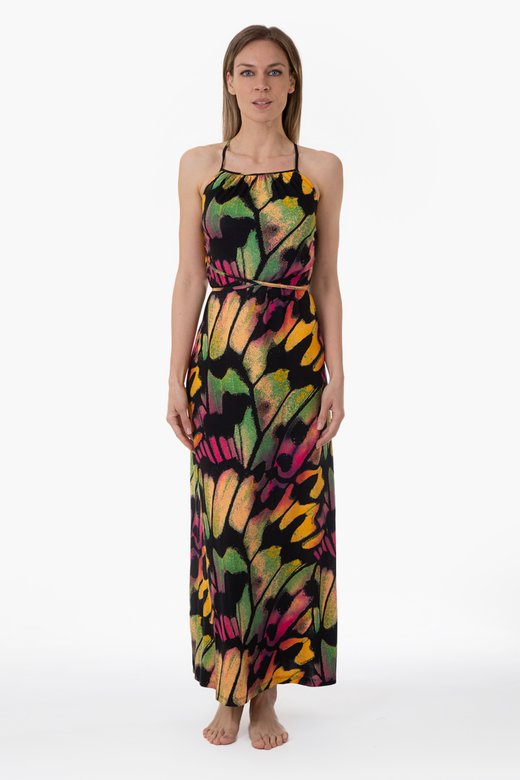 LONG JERSEY DRESS WITH CROSSED STRING