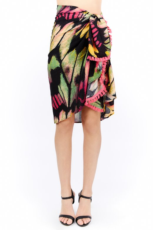 VISCOSE PRINTED WRAP COVER-UP
