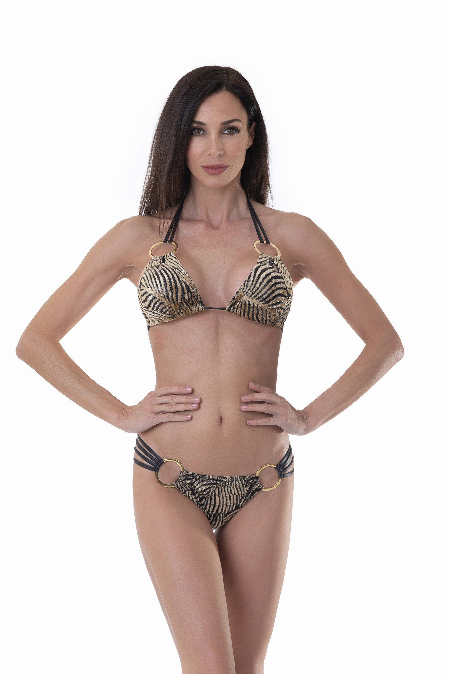 LUXE TRIANGLE BIKINI IN DEVORE' WITH METAL RINGS - Devore' Nero