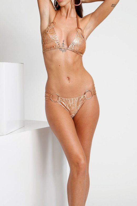 LUXE TRIANGLE BIKINI IN DEVORE' WITH METAL RINGS