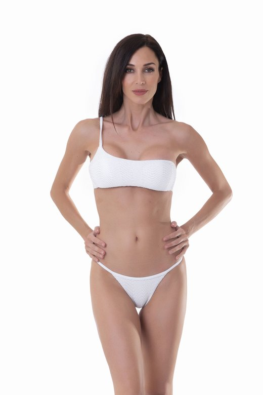 ONE SHOULDER BIKINI IN OPERATED MICROFIBER