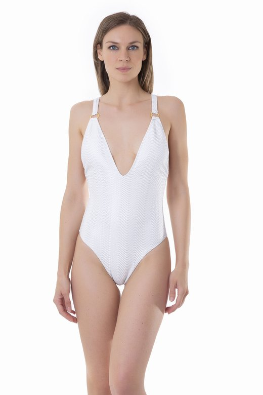ONE-PIECE SWIMSUIT WITH METAL CIRCLES AND WIDE NECKLINE - Microfibra Operata Splamata Bianco