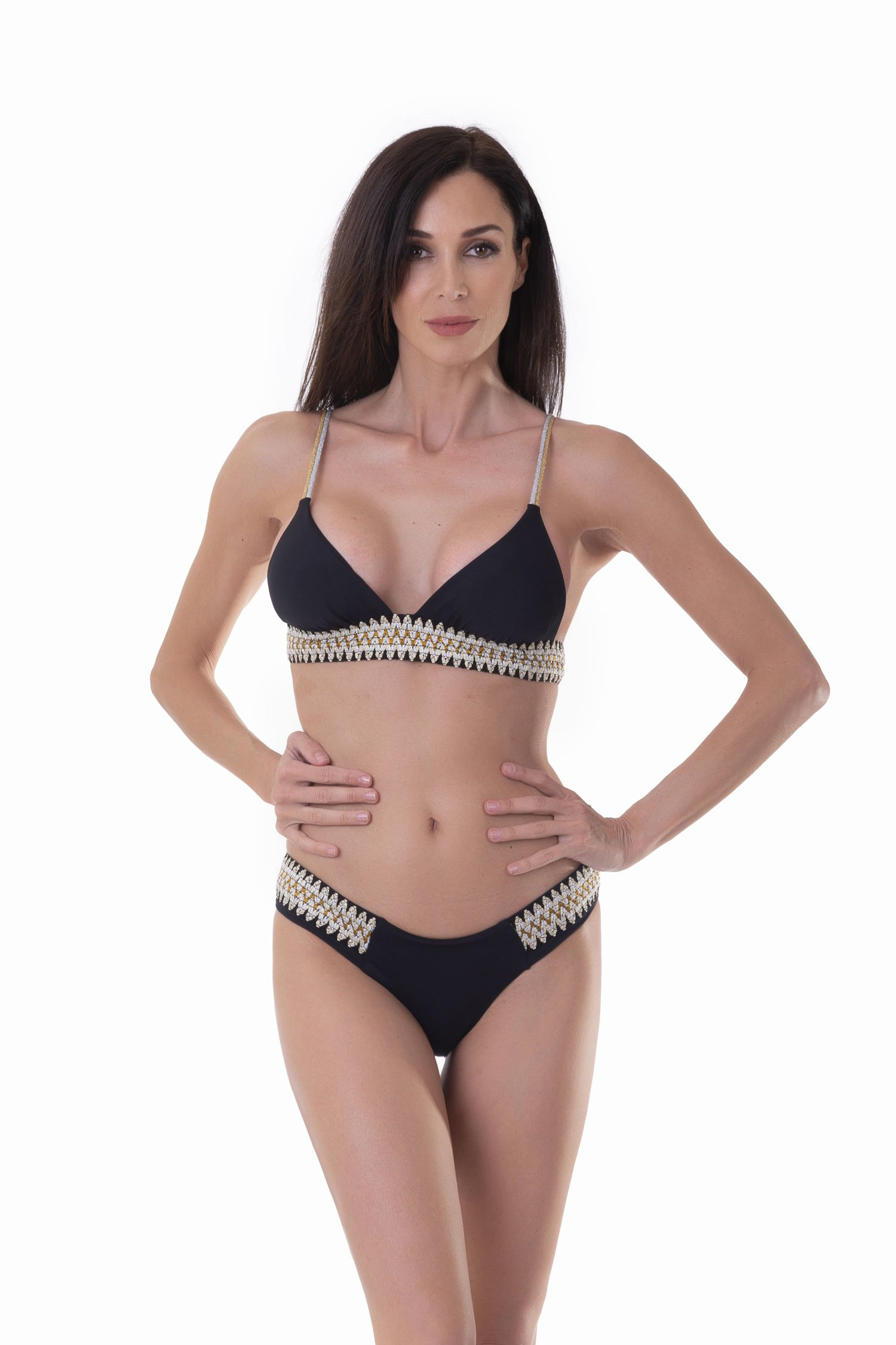TRIANGLE  BIKINI WITH LUREX ELASTICS - Nero Black 999