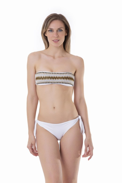 BANDEAU BIKINI WITH LUREX ELASTICS AND BOTTOM WITH TIES