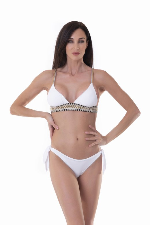 TRIANGLE  BIKINI WITH LUREX ELASTICS AND SLIP WITH LACES