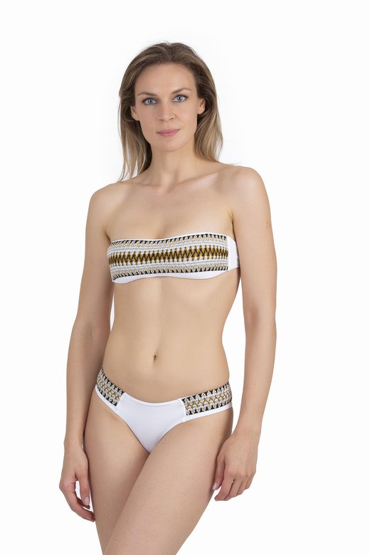 BANDEAU BIKINI WITH LUREX ELASTICS AND CULOTTE BOTTOM