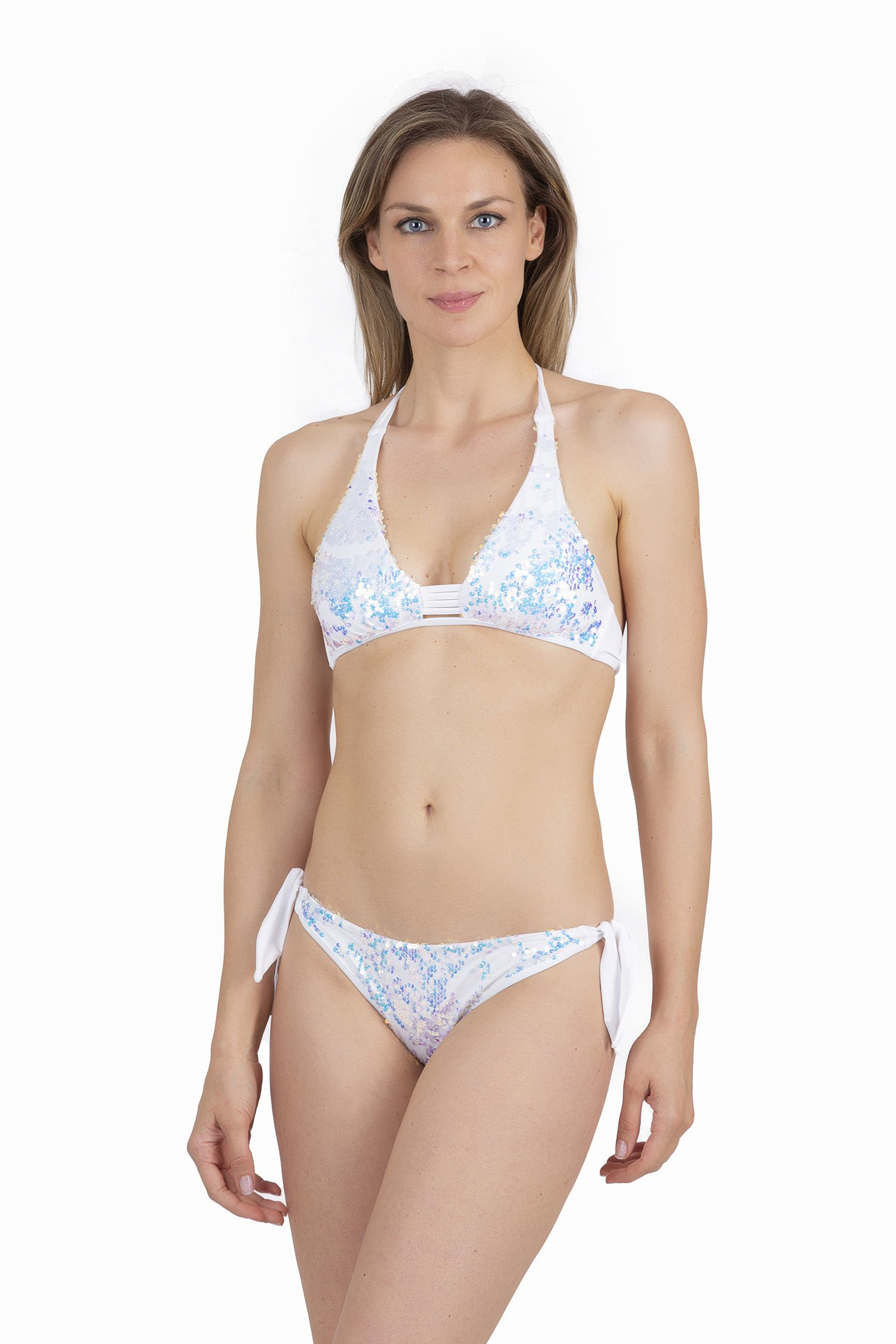 HALTER TRIANGLE WITH IRIDESCENT SEQUINS - Bianco White