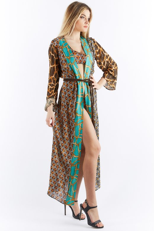LONG PATCHWORK DRESSING GOWN
