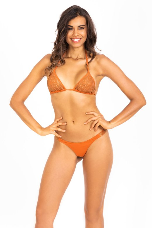 PLAIN COLOR BIKINI WITH RHINESTONES AND BRAZILIAN SLIP
