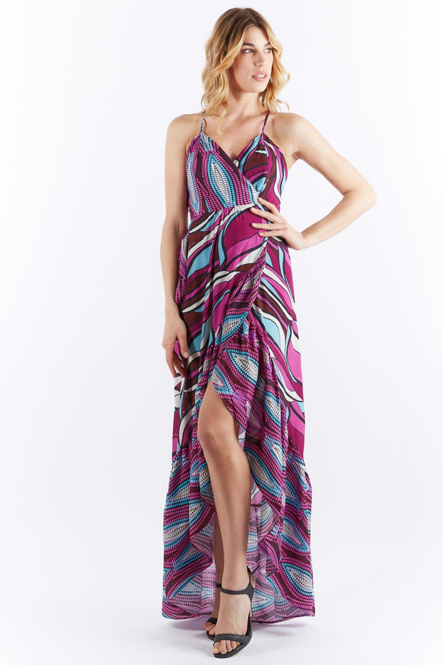 LONG ASYMMETRIC DRESS - Kenia Fuxia