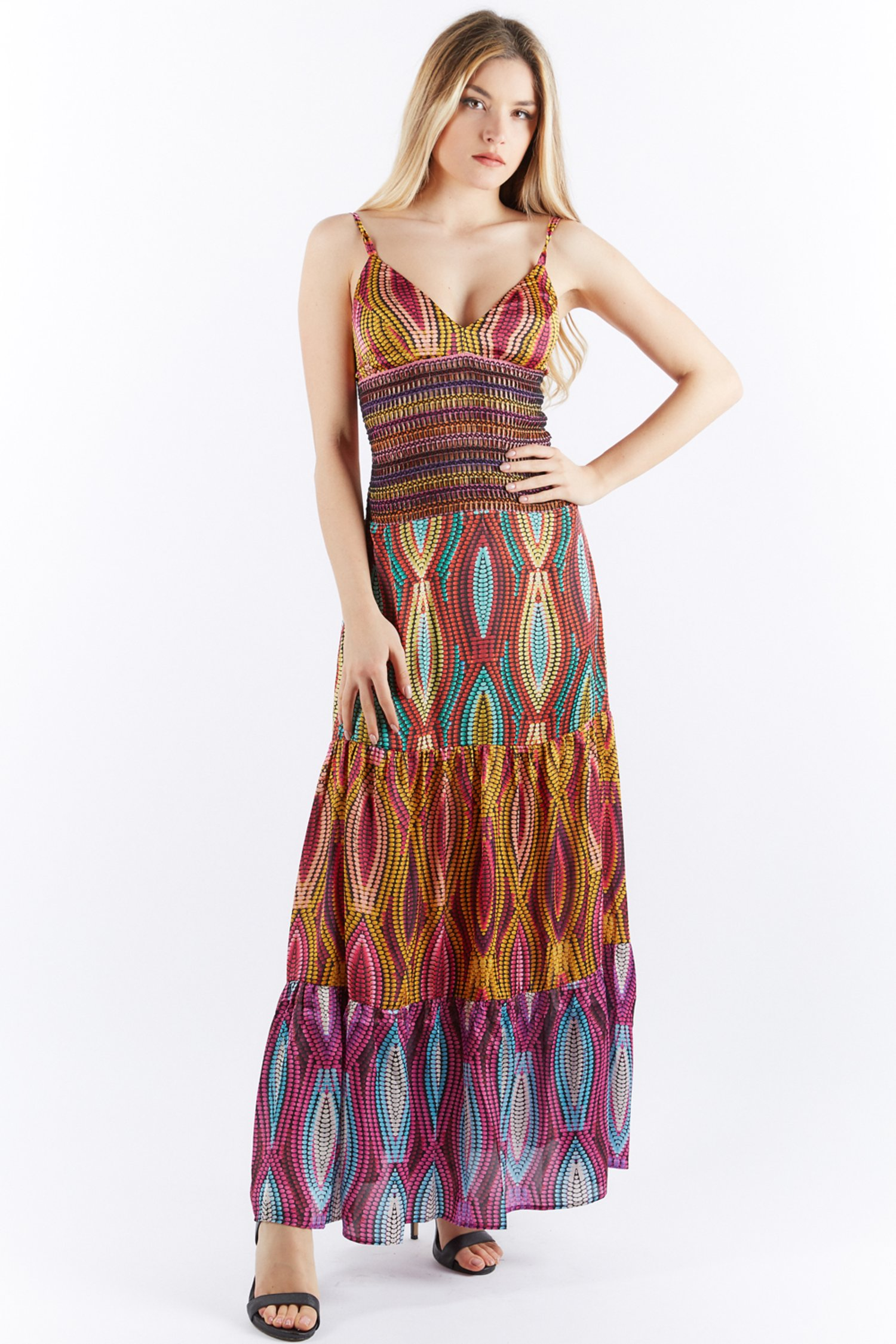 LONG MULTICOLOR DRESS WITH FLOUNCES AND TRIMMINGS - Kese+Kefu+Kero