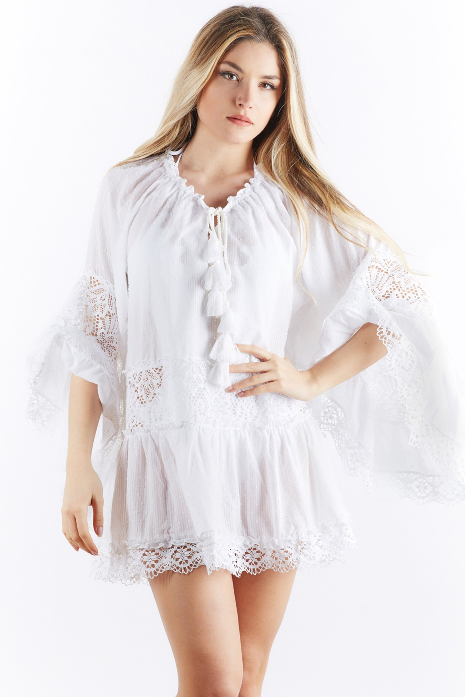 SHORT COTTON CAFTAN - Bianco