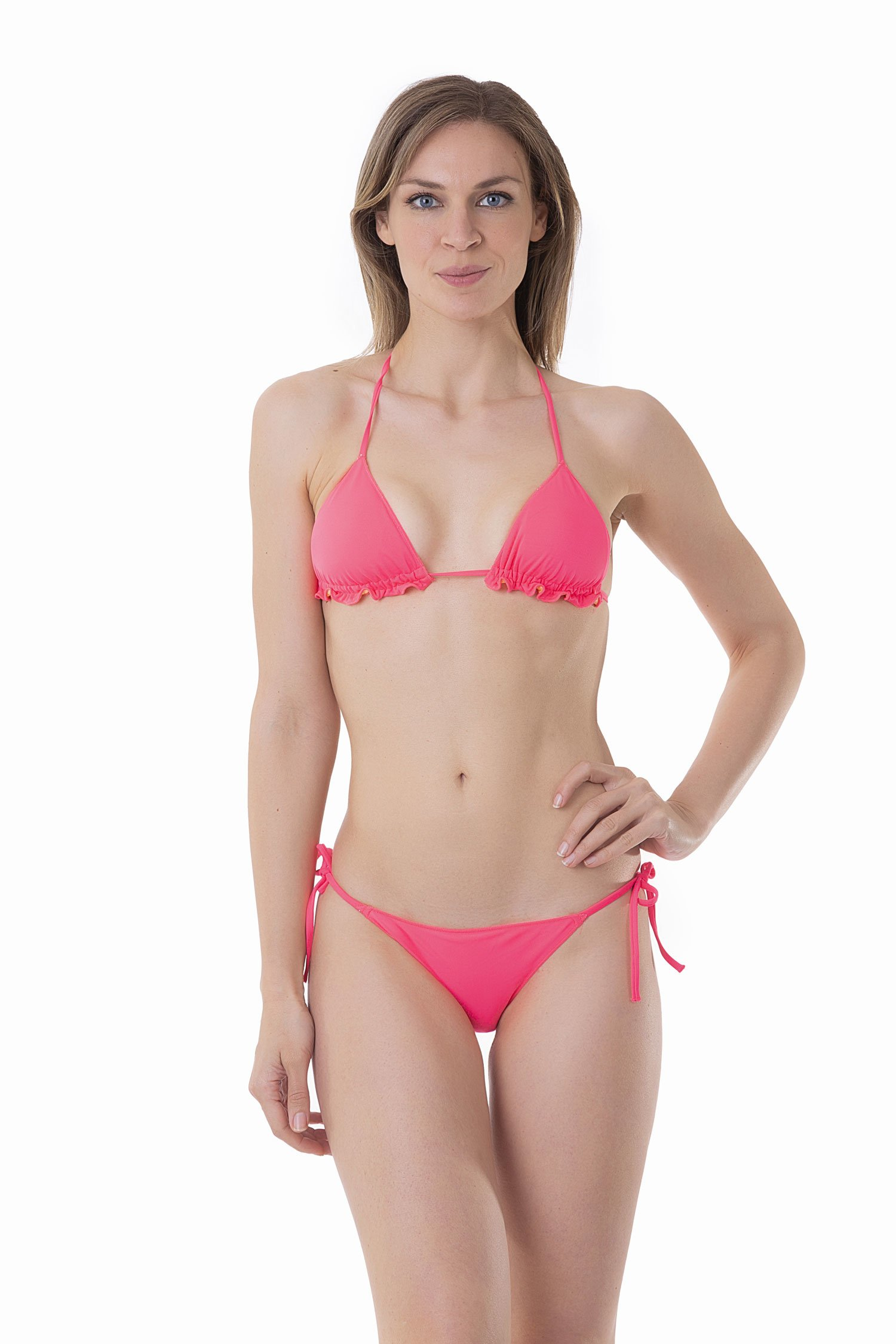 SOLID COLOUR BASIC TRIANGLE TOP - Popstar Fuxia Fluo