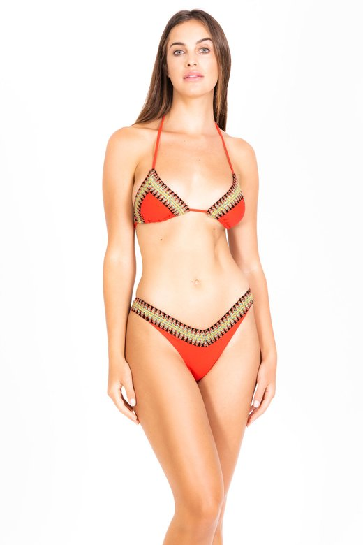 BIKINI WITH TRIANGLE AND HIGH-HEEL BOTTOM WITH TRIMMINGS