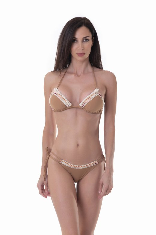 LUXE PLAIN COLOUR TRIANGLE BIKINI WITH TRIMMING