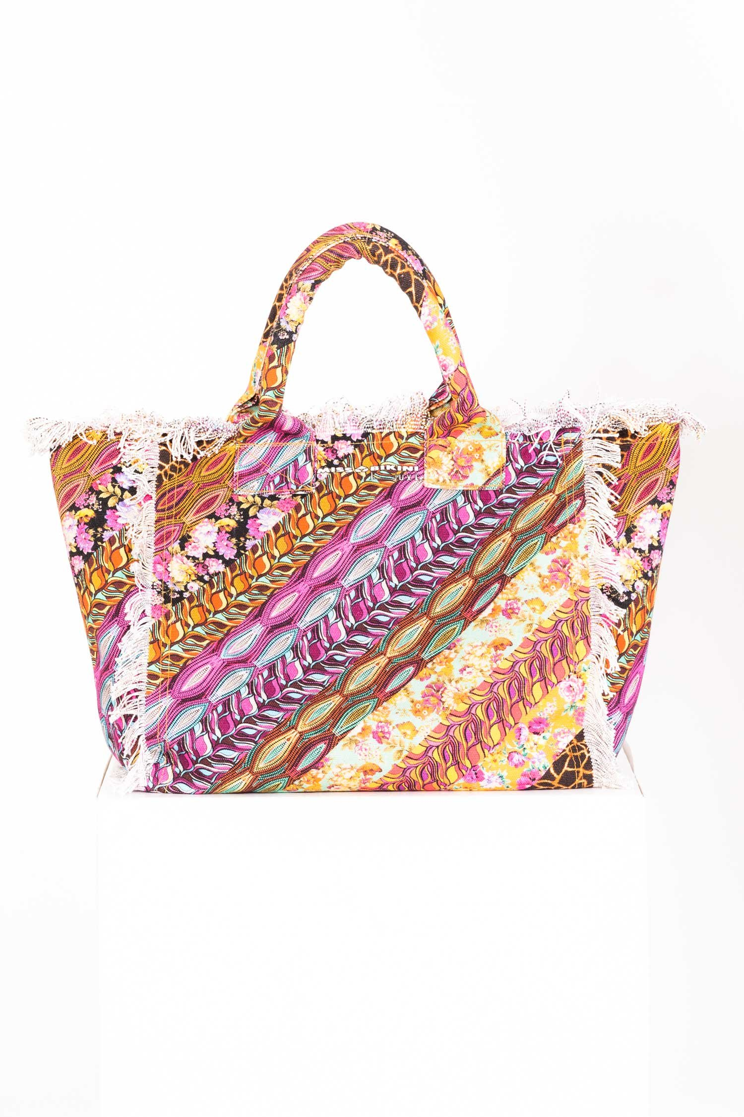 PATCHWORK BAG WITH FRINGES - Unico