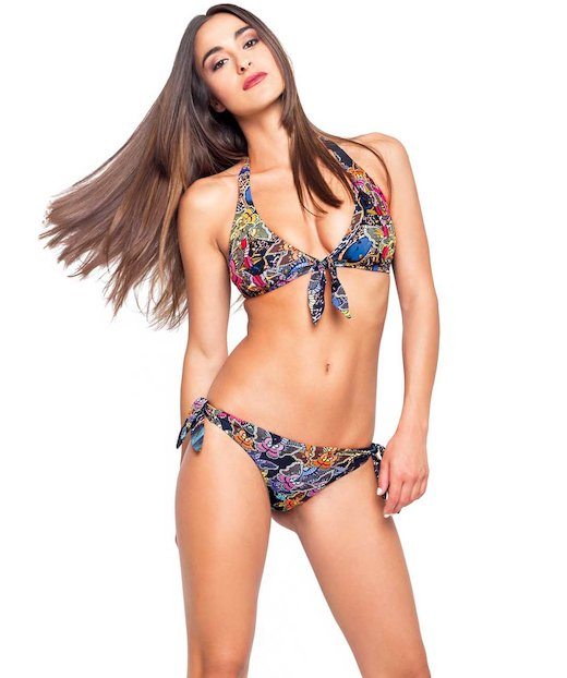 BIKINI HALTER WITH APPLICATIONS 1755D - Savana Blu