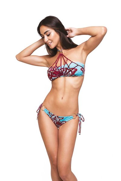 BIKINI EMBROIDERY RIBBONS WITH METAL RINGS