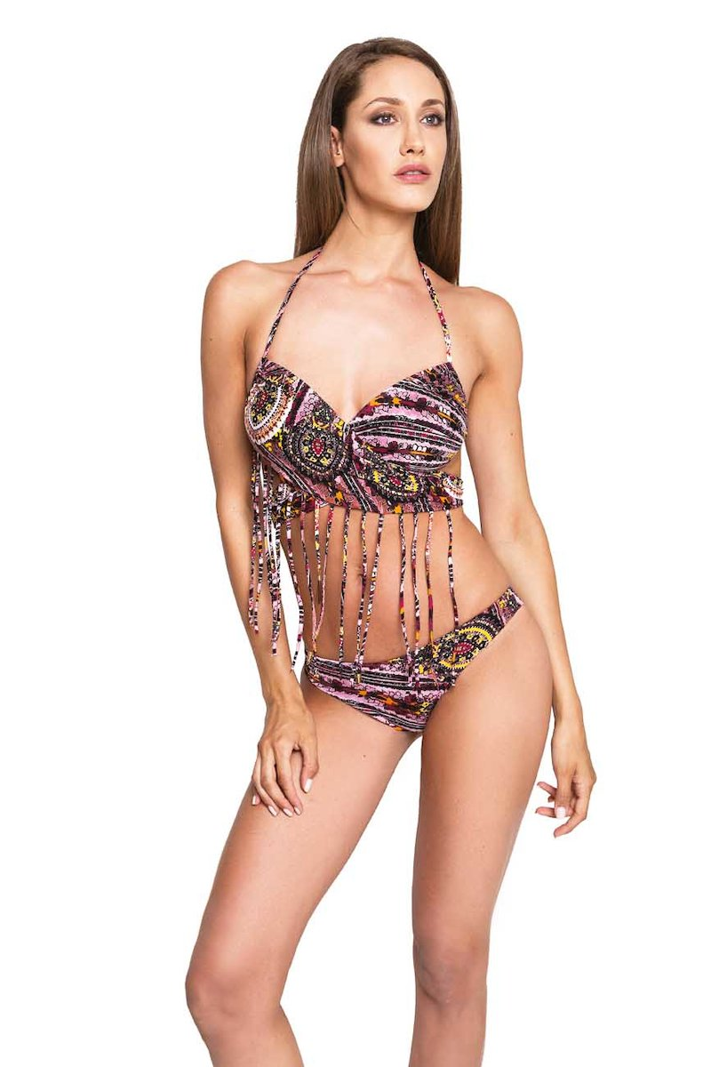 BIKINI TOP CROSS WITH FRINGES - Cachemire Rosa