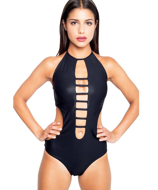 TOTAL BLACK MESH ONE PIECE 2707 - Nero Spalmato