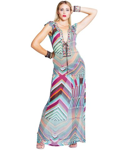 Stripes kaftan - Righe Turchese