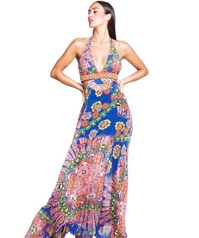 abito lungo chiffon fantasia ricamo foulard - Foulard Blu