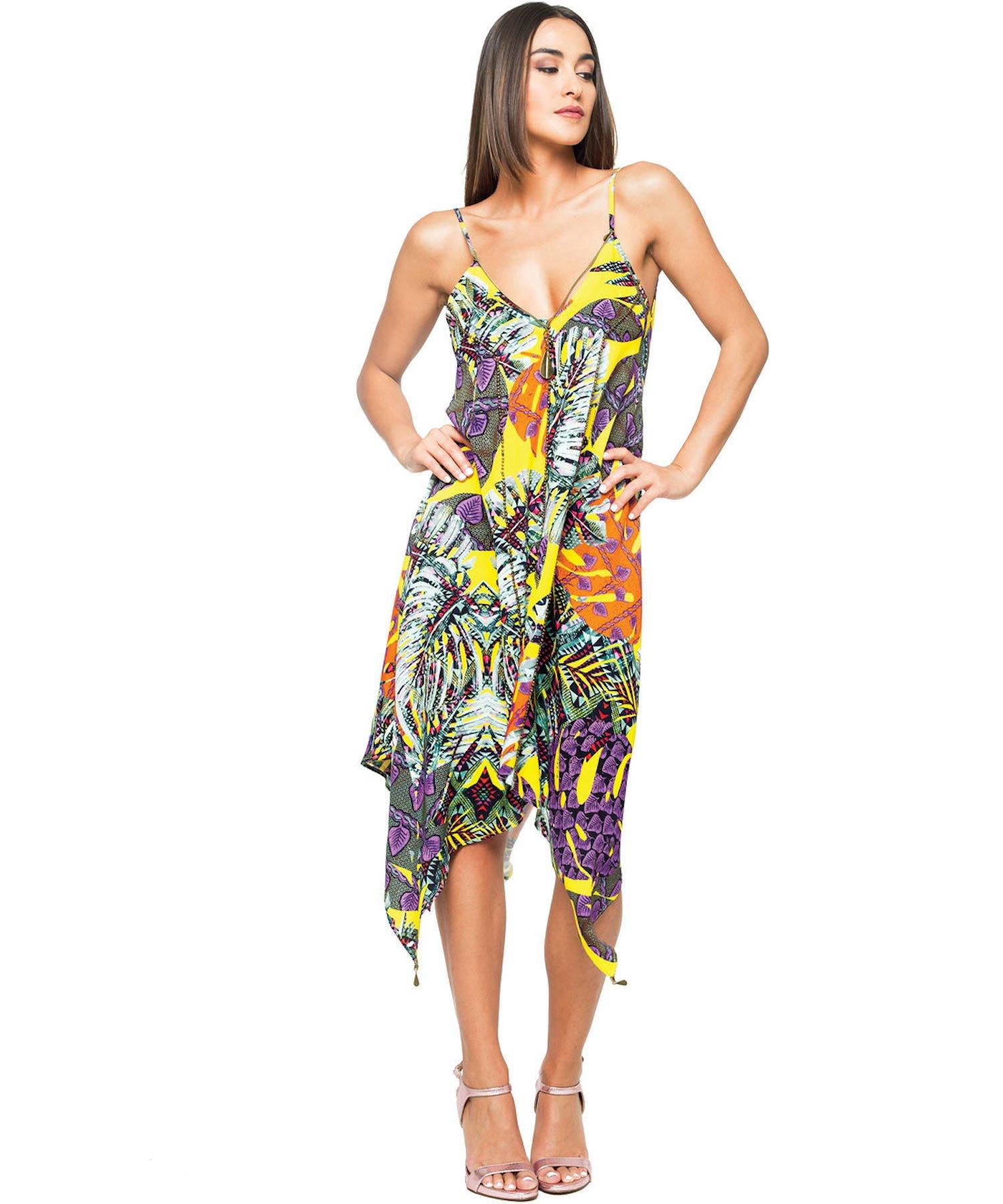 FOGLIE SHORT DRESS 3709 - Foglie Giallo