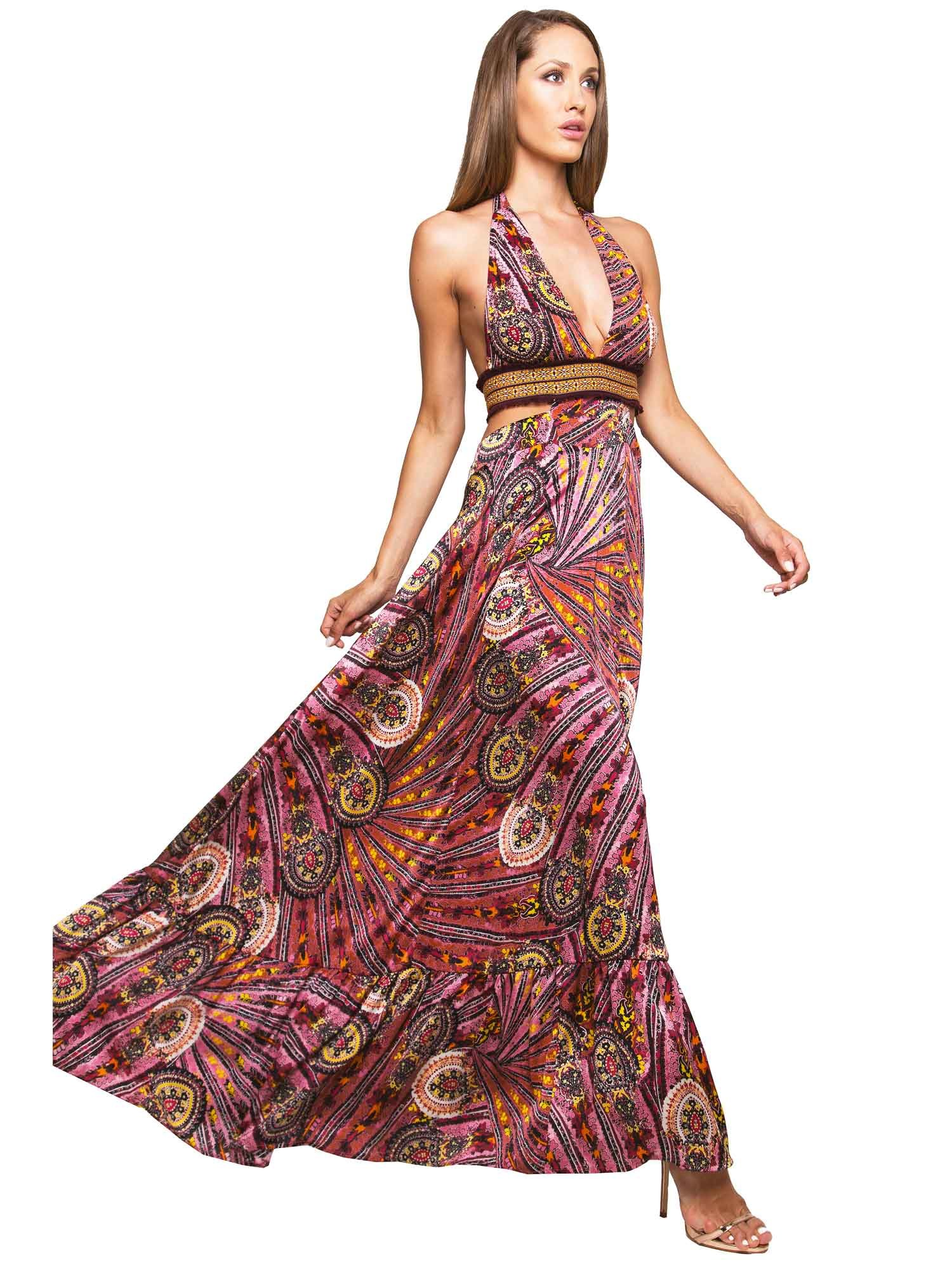 LONG DRESS WITH EMBROIDERY THREAD AND CASHMERE - Cachemire Rosa