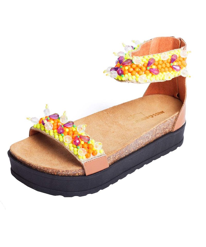 sandalo cavigliera palline flou - Cuoio
